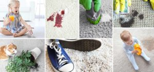 collage of carpet cleaning images